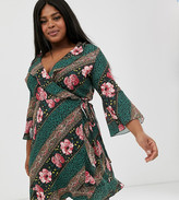 Outrageous Fortune Plus ruffle wrap dress with fluted sleeve in scarf print