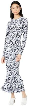 KAMALIKULTURE by Norma Kamali Long Sleeve Crew Fishtail Dress to Midcalf (Chevron Zebra) Women's Dress