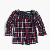 J.Crew Girls' plaid top with pom-poms