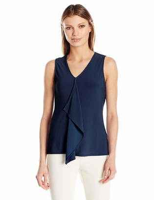 Jones New York Women's Slvlss Ruffle Front Top