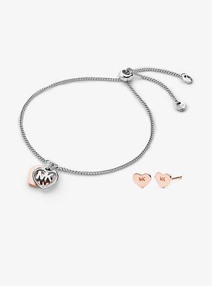 Michael Kors Precious Metal-Plated Sterling Silver Heart Slider Bracelet and Logo Stud Earrings Set - Two Tone