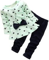 Qin.Orianna Shanshan Super Cute Baby Girl Bowknot 2pcs Set Children Clothes Suit Top and Pants
