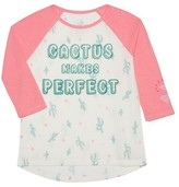 L.O.L. Vintage Girls' Cactus 3/4th Sleeve Graphic T-Shirt - Pink