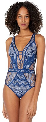 Becca by Rebecca Virtue Reveal Plunge One-Piece (Black/Tan) Women's Swimsuits One Piece