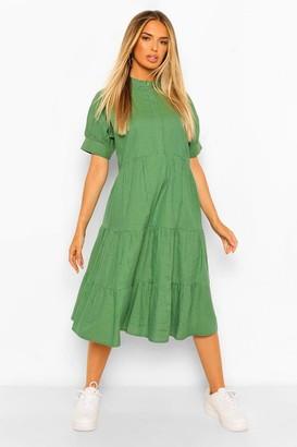 boohoo Check Print Puff Sleeve Tiered Midi Dress