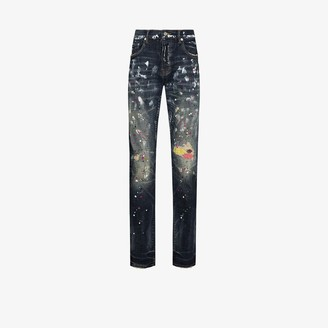 Purple Brand Repair Stitch Paint Splatter Slim Jeans