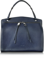 Jil Sander Blunt Open Blue Cross Printed Leather Medium Handbag