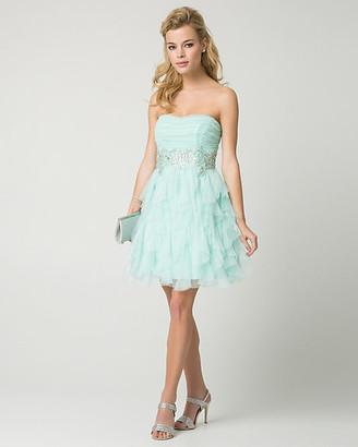 Le Château Sparkle Mesh Strapless Party Dress