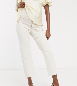 ASOS DESIGN Maternity mid rise 'off duty' straight leg jeans in ecru with over the bump band