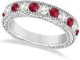 Allurez Antique Round Cut Diamond and Ruby Bridal Wedding Ring Band in Fine Hypoallergenic Palladium (1.46ct)