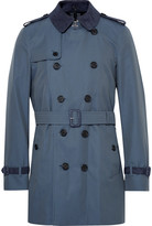 Burberry Kensington Mid-Length Suede-Trimmed Cotton-Gabardine Trench Coat