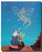 Magical Wizard Dragon Mythical Fantasy Kids Room Wall Decor Art Print Poster (16x20)