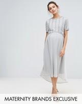 Maya Maternity Hi Lo Midi Dress With Embellished Bodice