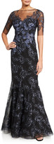 Rickie Freeman For Teri Jon Embroidered Tulle Mermaid Gown w/ Illusion-Neck