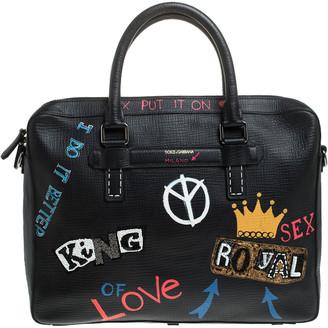 Dolce & Gabbana Black Leather Embellished Patch Briefcase