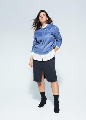 MANGO Violeta BY Textured cotton-blend sweatshirt blue - S - Plus sizes