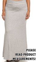 CurvyLuv.com Women's Plus Size Solid Long Maxi Skirt Juniors Fold Over Waist Ankle Length