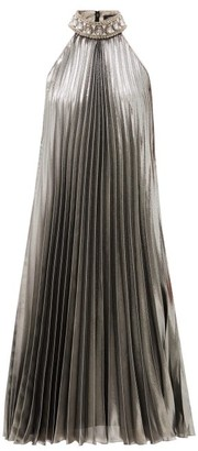 Andrew Gn Crystal-collar Pleated Silk-blend Lame Dress - Silver