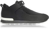 Balmain Doda Black Leather and Quilted Neoprene Sneaker