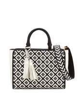 Tory Burch Robinson Small Woven Quilted Satchel Bag, Black/New Ivory