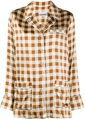 Ganni Checked Silk Pyjama Shirt