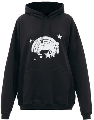 Vetements Magic Unicorn-print Cotton Hooded Sweatshirt - Black