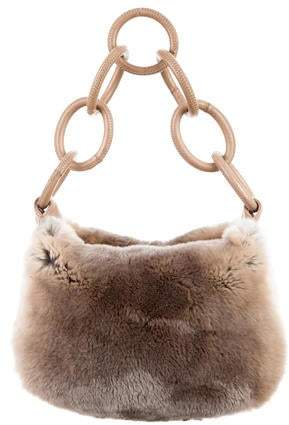 Chanel Leather-Trimmed Fur Hobo