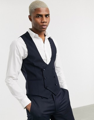 Devils Advocate skinny fit scoop double breasted waistcoat