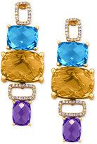 Effy Multi-Stone (21-3/4 ct. t.w.) and Diamond (1/4 ct. t.w.) Drop Earrings in 14k Gold