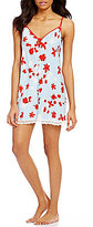 Oscar de la Renta Cherry Bloom Floral Satin Chemise