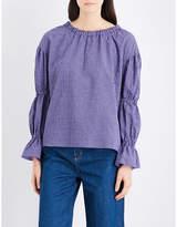 MiH Jeans Bubble gingham cotton-blend top
