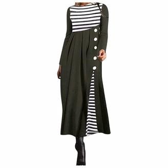 Jiegorge Women's Dress Women Stripe Long Sleeve Patchwork Dress