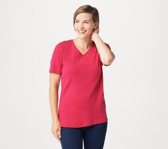 Denim & Co. Classic Fit Short-Sleeve V-Neck Top