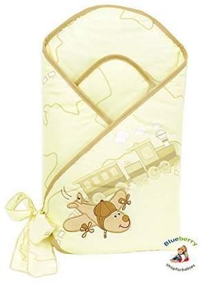 BlueberryShop Premium 100 Percent Cotton Embroidered Swaddle Wrap/Blanket/Duvet for Newborn Baby, Cream Plane