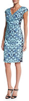 Escada Cap-Sleeve Acanthus-Print Sheath Dress, Multi Colors