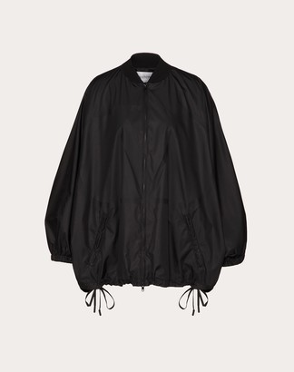 Valentino Vlogo Nylon Pea Coat Women Black Polyester 100% 38
