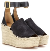 Chloé Isa Suede And Leather Wedge Espadrilles