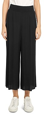 Theory Ribbed Viscose Crepe Wide Leg Cropped Pants