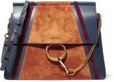 Chloé Faye Medium Leather And Suede Shoulder Bag - Storm blue