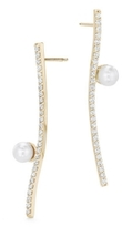 Paige Novick Curved Diamond Pave Bar Earrings with Pearl Details