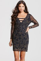 Little Mistress Navy and Gold Heavily Embellished Bodycon Dress