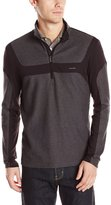 Calvin Klein Men's Long Sleeve Q-Zip Color Block Knit