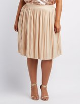 Charlotte Russe Plus Size Shimmer Pleated Midi Skirt