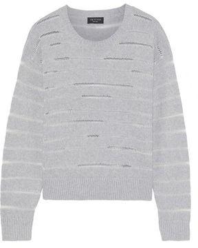 Rag & Bone Open-trimmed Striped Stretch-knit Sweater