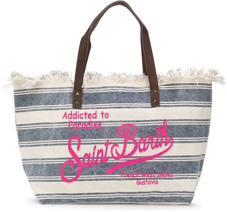 MC2 Saint Barth Striped Logo Print Beach Bag