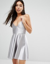Boohoo Satin Strappy Skater Dress