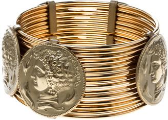 Dolce & Gabbana Monete Coin Gold Tone Wide Bracelet