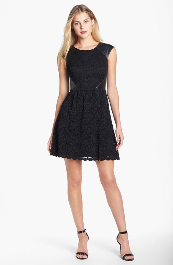 Betsey Johnson Faux Leather Trim Lace Fit & Flare Dress