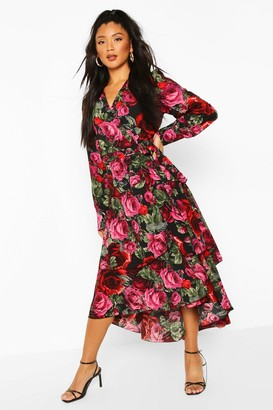 boohoo Rose Print Wrap Long Sleeve Maxi Dress