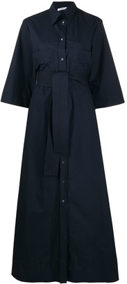 P.A.R.O.S.H. Cropped Sleeves Belted Shirt Dress